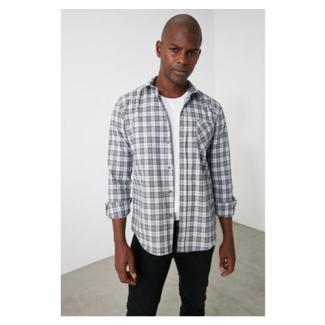 Trendyol Anthracite Men's Plaid ButtonEd Shirt Collar Slim Fit Shirt