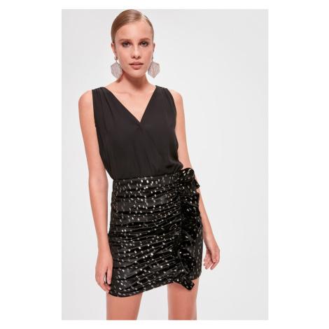 Trendyol Black Leaf Printed Skirt Black
