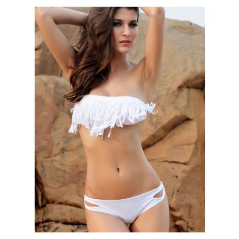 Dámske plavky dvojdielne bikiny Fringe zdobené strapcami na podprsenke biele - Biela / L - OEM