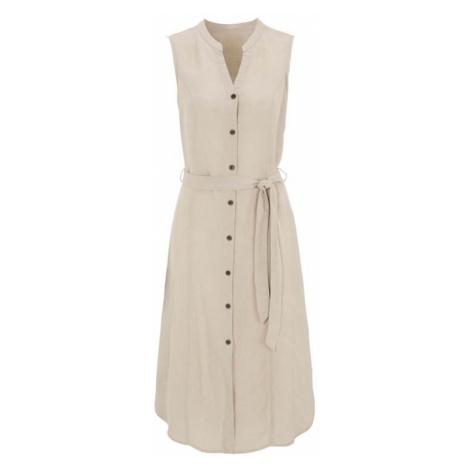 Ľanové šaty s drevenými gombíkmi