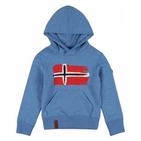 TROLLKIDS Športová mikina 'Trondheim'  modrá melírovaná / červená / biela / čierna