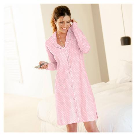 Blancheporte Nočná košeľa s potlačou bodiek ružová