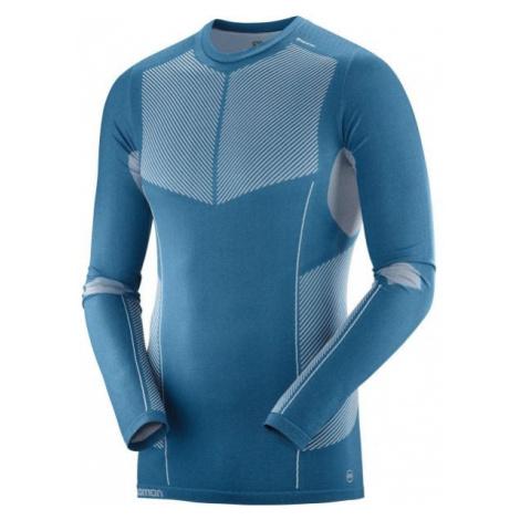 Salomon PRIMO WARM SEAMLESS TEE modrá - Pánske tričko
