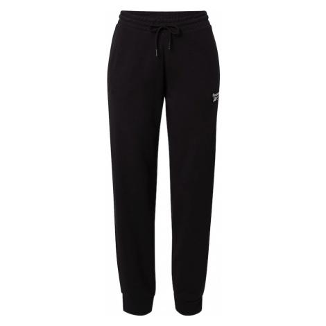REEBOK Športové nohavice  čierna / biela