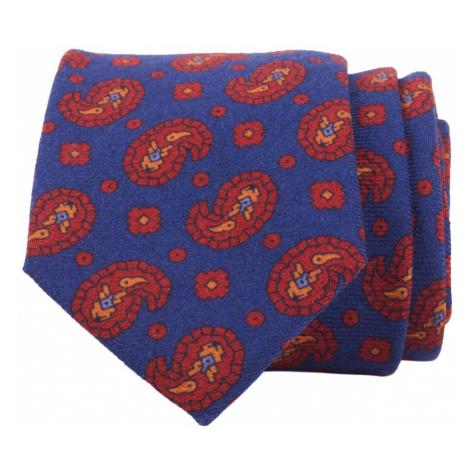 John & Paul Modrá kravata s paisley vzorom a kvetmi John & Paul