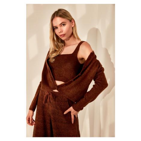 Trendyol Brown Blouse Cardigan Knitwear Team