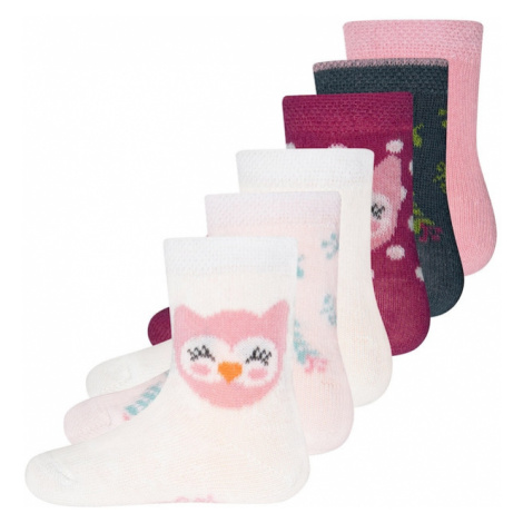 EWERS Ponožky  tmavočervená / biela / ružová