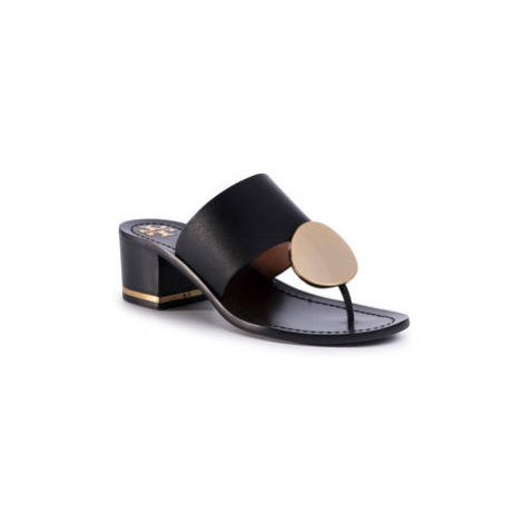 Tory Burch Žabky Patos Disk 45mm Sandal Calf Leather 63575 Čierna