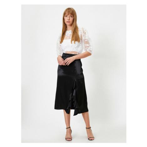 Koton Midi Skirt With High Waist Slit with Female Black Flywheel