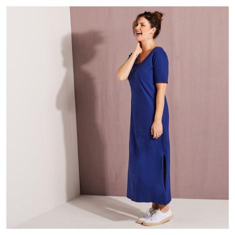 Blancheporte Dlhé šaty s krátkymi rukávmi nám.modrá