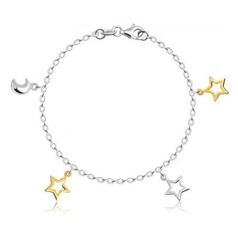 Detský strieborný 925 náramok - mesiačik a kontúry hviezdičiek v zlatom a striebornom odtieni
