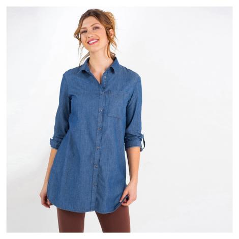 Blancheporte Dlhá džínsová košeľa s výšivkou denim