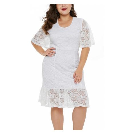 Dámske biele plus size midi šaty Santa