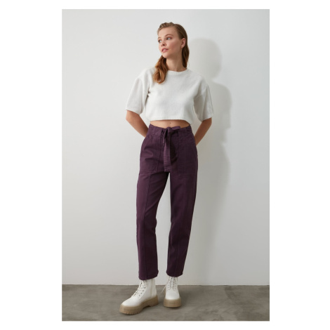 Trendyol Purple BeltEd Seam Detailing High Waist Mom Jeans