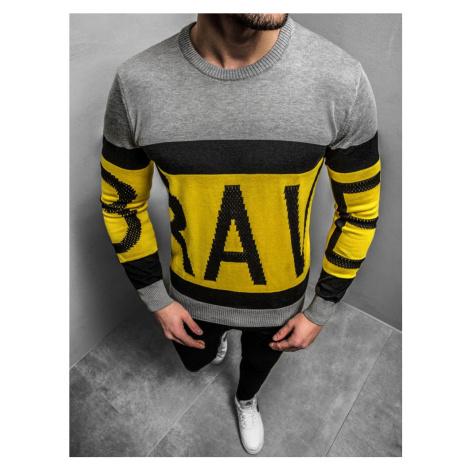 Šedo-žltý originálny sveter B/2428Z BREEZY