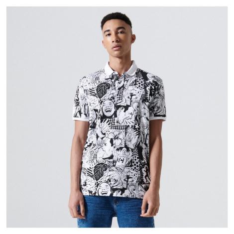 Cropp - Úplne potlačené tričko polo - Biela