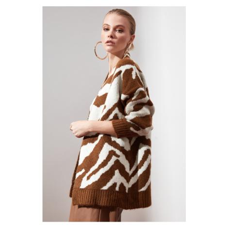 Trendyol Brown Zebra Patterned Knitwear Cardigan