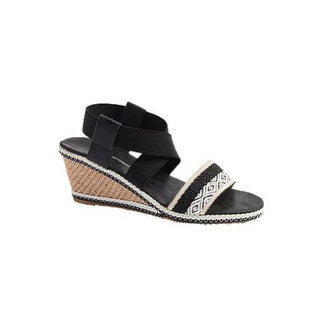 Čierno-biele sandále na klinovom podpätku Claudia Ghizzani