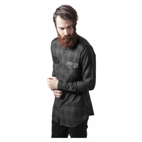 Urban Classics Side Zip Leather Shoulder Flanell Shirt blk/cha - Veľkosť:L