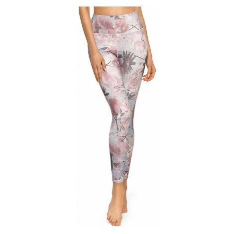Sivo-ružové kvetované bezšvové legíny Comfort Relleciga