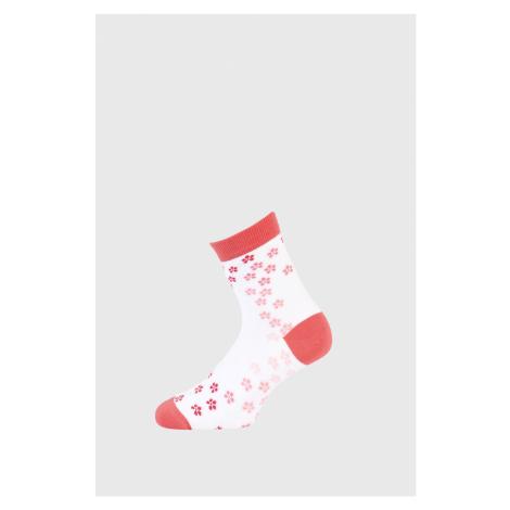 Dievčenské ponožky s kytičkami bielo-ružová Wola