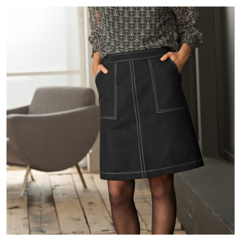 Blancheporte Dvojfarebná rozšírená sukňa čierna