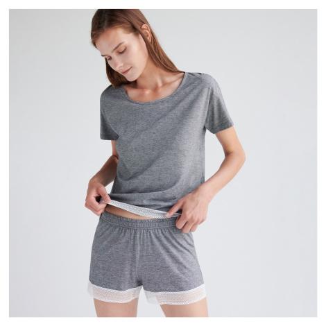 Reserved - Pyžamo z organickej bavlny so šortkami - Čierna