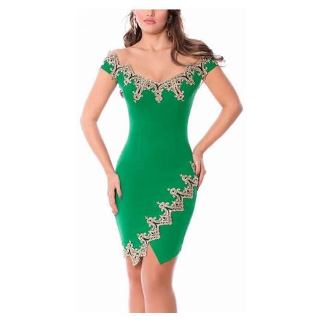 Dámske šaty s aplikáciou Vanda - zelené