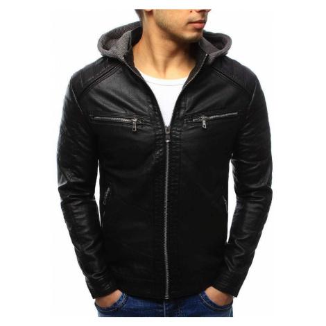 Moderná pánska čierna kožená bunda s kapucňou tx2070