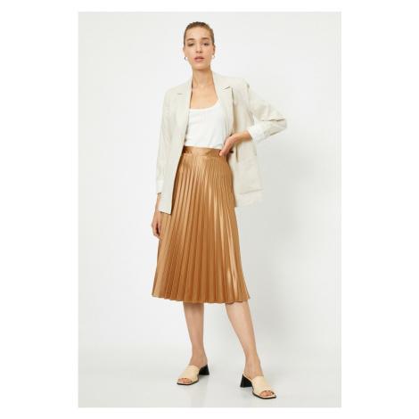 Koton High Waist Pleated Midi Skirt