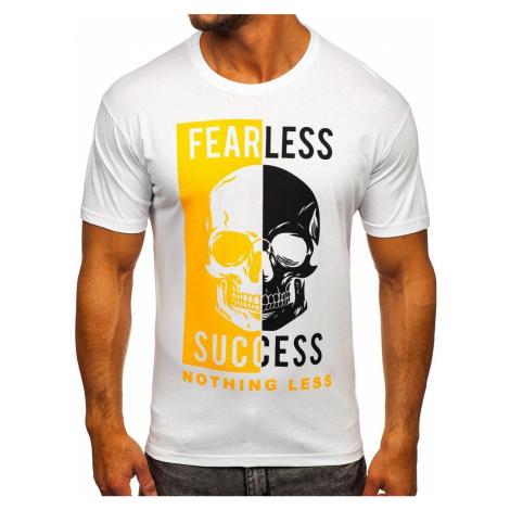 Biele pánske tričko s potlačou Bolf 142173