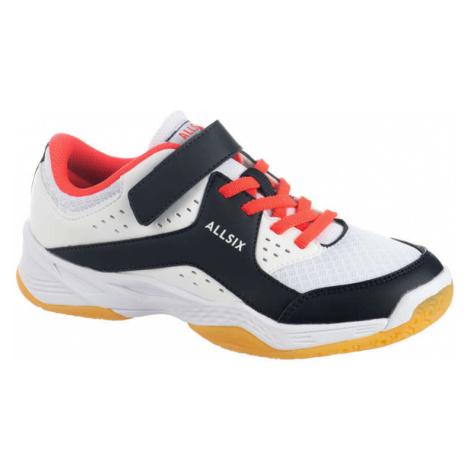 ALLSIX Dievčenská volejbalová obuv na suchý zips bielo-modro-ružová BIELA 32
