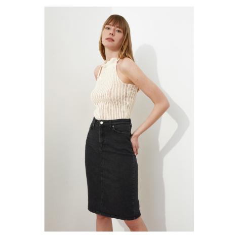 Trendyol Black Midi Denim Skirt