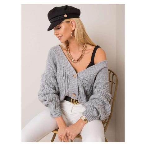 Dámsky sivý oversize sveter na gombíky
