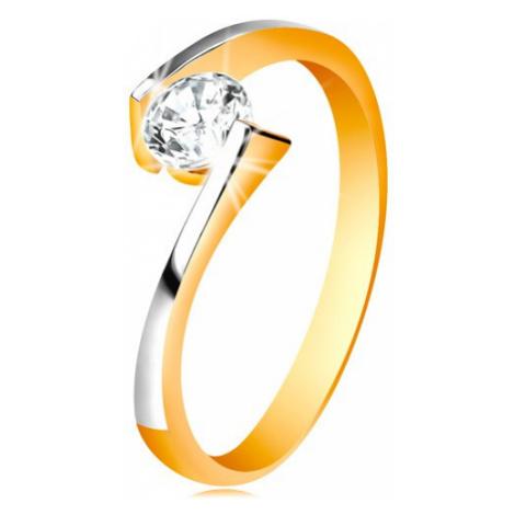 Prsteň zo 14K zlata - číry zirkón medzi zúženými a zahnutými koncami ramien - Veľkosť: 60 mm