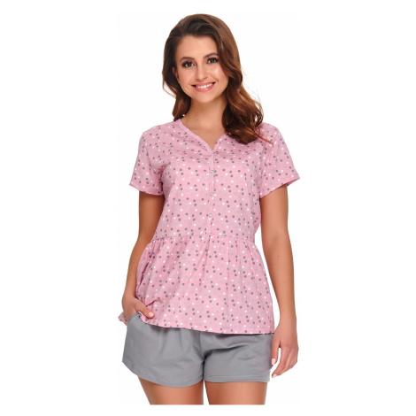 Materské dojčiace pyžamo Anabel ružovo-sivá