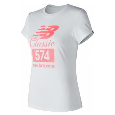 Dámske tričko NEW BALANCE W Essentials Tee White / Pink Bielo-ružová