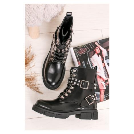 Čierne členkové topánky s kamienkami Dolores