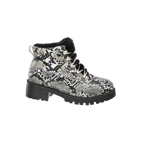Čierno-biela šnurovacia obuv so zvieracím vzorom Vero Moda