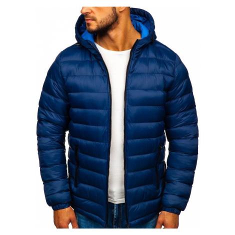 Tmavomodrá pánska prešívaná športová zimná bunda Bolf JP1101