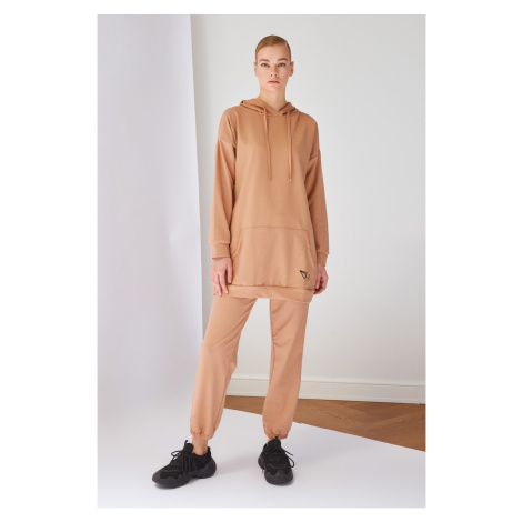 Trendyol Beige Hooded Knitted Tracksuit Set