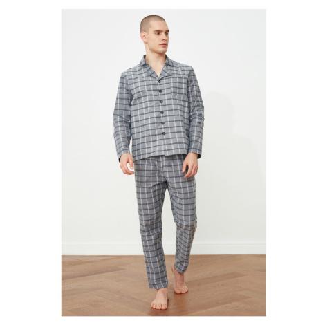 Trendyol Gray Plaid Woven Pyjama Set