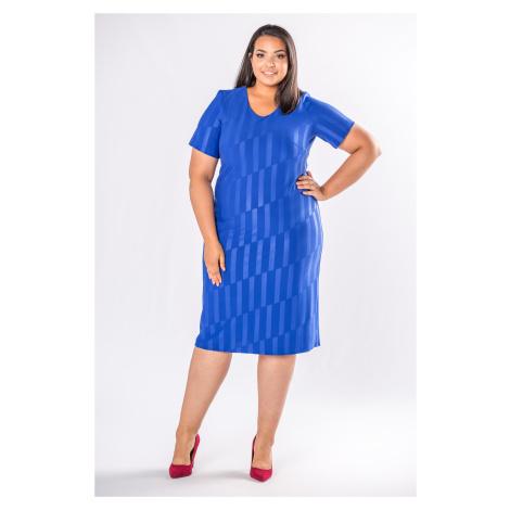 Puzdrové šaty modrej farby so vzorom