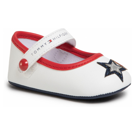 Poltopánky TOMMY HILFIGER - Ballerina T0A3-30591-0886 White/Blue/Red Y003