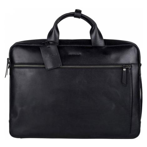 Kožená taška na notebook Burkely Work s PowerBank - čierna