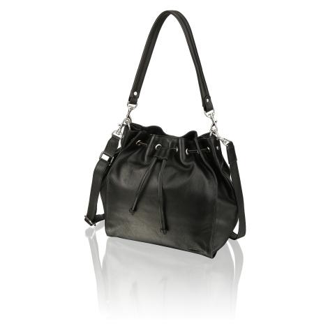 Lazzarini hladká koža taška cez rameno čierna