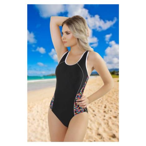 Jednodielne plavky Mina čierne farebný vzor