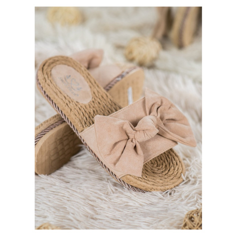 SMALL SWAN FASHIONABLE FLIP-FLOPS WITH BOW shades of brown and beige
