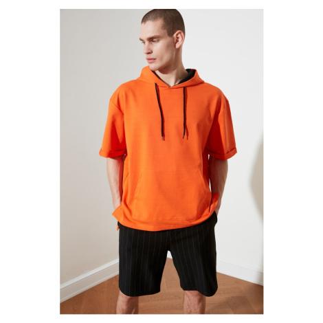 Trendyol Orange Male Oversize Fit Hooded Short Sleeve Sweatshirt