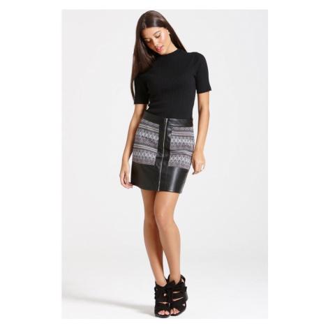 Tmavá mini sukňa s aztéckym potlačou Little Mistress
